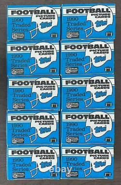 (10) 1990 Topps Traded Football Complete Box Sets Emmitt Smith Rookie Card RC