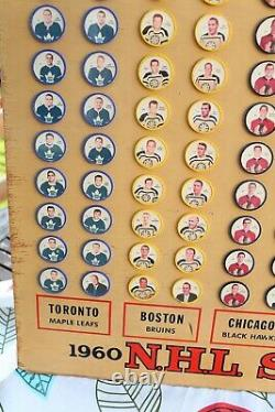 1960-61 Shirriff Hockey Coins Complete Set of 120 Wood Display Board