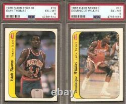 1986-87 Fleer Basketball Stickers COMPLETE SET PSA GRADED
