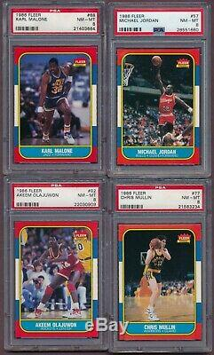 1986 Fleer PSA 8 Complete Set 132 cards ALL GRADED PSA 8 (NQ) JORDAN RC