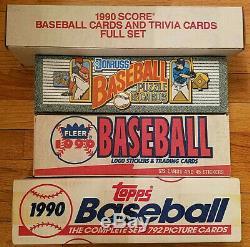 1990 Donruss, Fleer, Score, Topps Baseball Card Complete Sealed Sets
