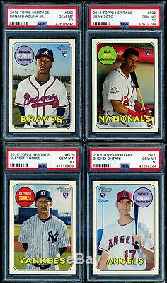 2018 Topps Heritage High Number Complete Set Acuna Soto Ohtani Torres ALL PSA 10