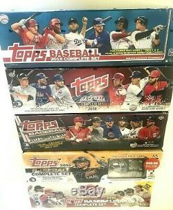 2019,2018,2017,2016 & 2015 Topps Baseball Complete Factory Set Combo (5 Sets)