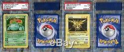 Complete 16 Card Pokemon Base Shadowless Holo Set PSA 8 NEAR MINT-MINT