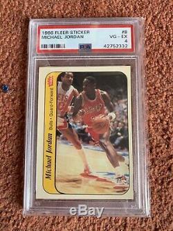 Complete 1986-87 Fleer 57 Basketball Sticker Set PSA Graded Michael Jordan RC