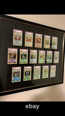 Complete Holo Base Set Unlimited & 1st Edition Jungle PSA Pokemon Cards Framed