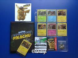Detective Pikachu Complete Pokemon Card Set With Binder + DVD Promo + More! Nm/m