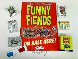 Funny Fiends Factory Card Set + Complete Chase Sets + 3d Glasses- Ugly Stickers