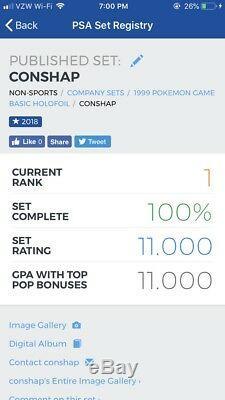 PSA 10 Pokemon Complete Unlimited Base Set 102 Cards Booster Pack 1999 Gem Mint