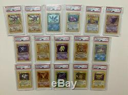Pokemon Card PSA Graded 1st Edition Shadowless Complete Fossil Set 62 Full Rare