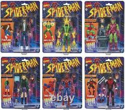 Spider-Man Marvel Legends Retro Collection Wave Set 6 Figures COMPLETE CARD WEAR