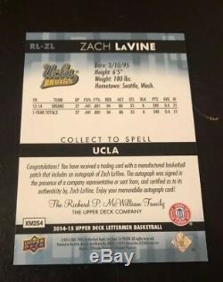 ZACH LaVINE Lettermen Letterman COMPLETE SET! UCLA ROOKIE Premier Auto. Ebay 1/1